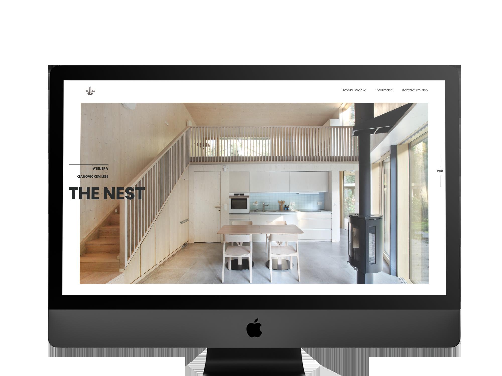 The Nest – webpage on iMac