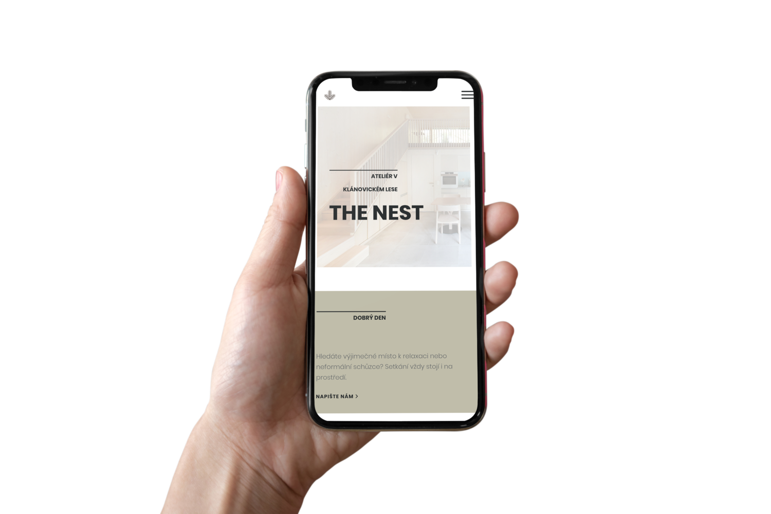 The Nest – webpage on iPhone