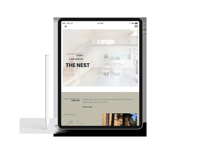 The Nest – webpage on iPad